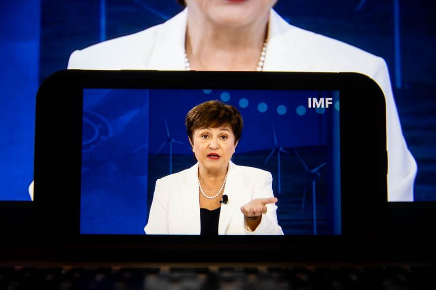 Ms Kristalina Georgieva during a virtual press conference for the annual meetings of the IMF and World Bank Group in New York on Oct 13, 2021.