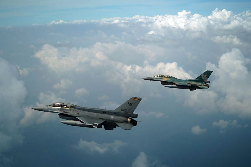 The RSAF and TNI AU's F-16 aircraft flying together as part of Exercise Elang Indopura, a bilateral exercise that is held every two years.
