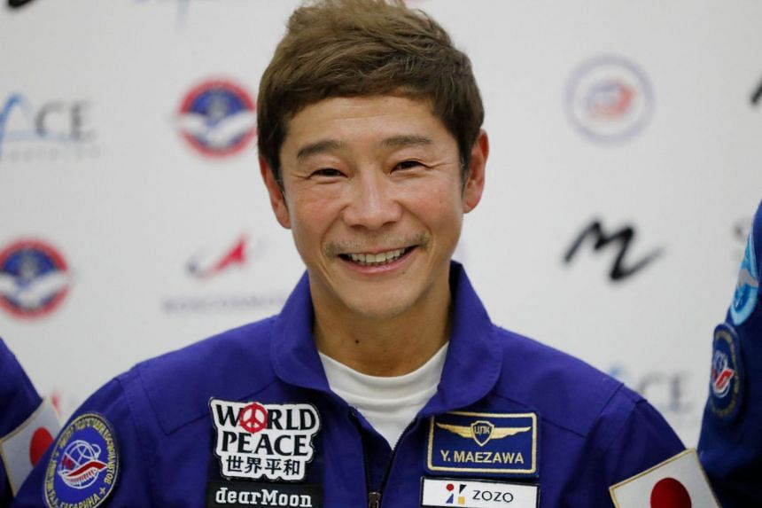 Japanese billionaire Yusaku Maezawa attends a press conference ahead of the expedition to the International Space Station, in Star City outside Moscow, on Oct 14, 2021.