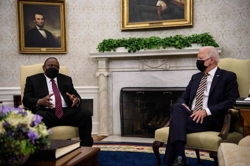 US President Joe Biden meets with his Kenyan counterpart Uhuru Kenyatta in the Oval Office, on Oct 14, 2021.