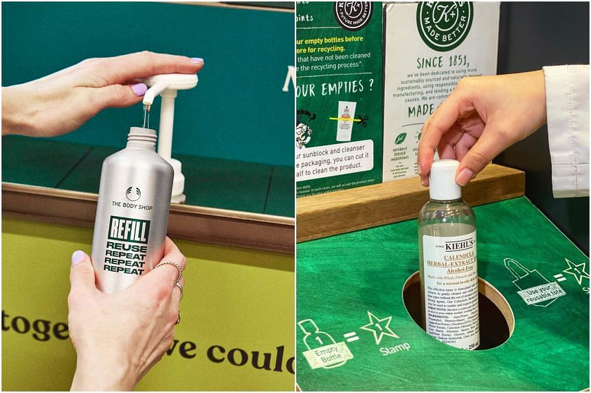 The Body Shop has a permanent refill system in a store and Kiehl's rewards loyalty club members who the brand's empty bottles to stores for recycling.
