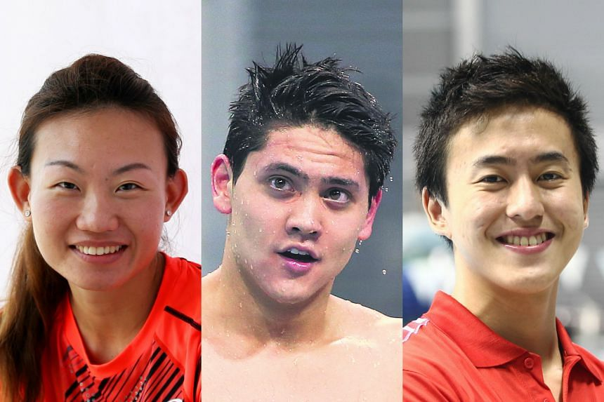From left: Marathoner Neo Jie Shi, as well as swimmers Joseph Schooling and Quah Zheng Wen, are qualified to represent Singapore at this year's Olympic Games in Rio de Janeiro.