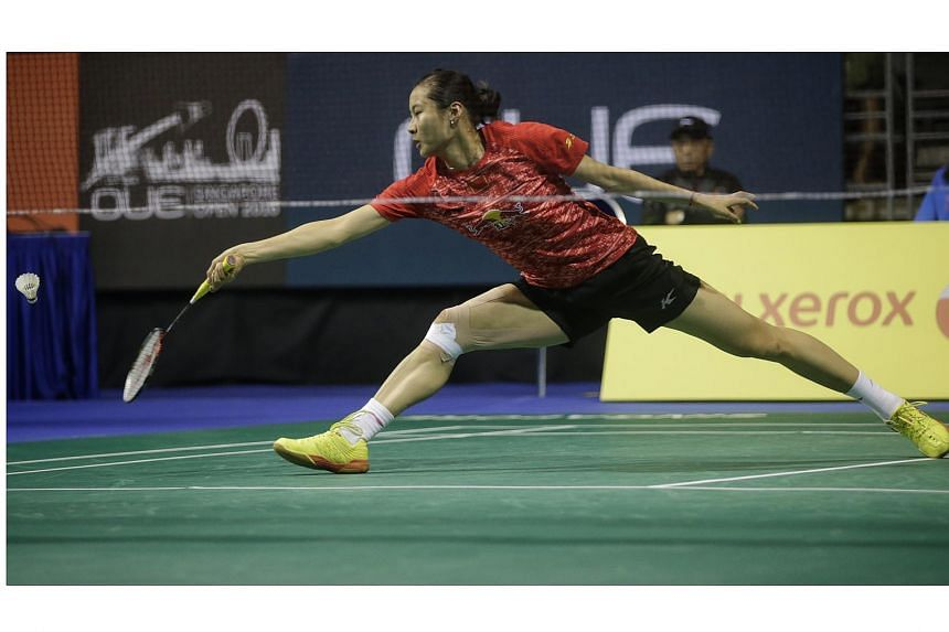 China's Wang Yihan in action during the women's singles first round of the OUE Singapore Open, on April 13, 2016.