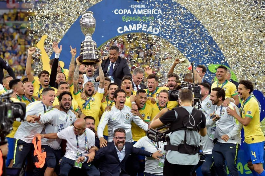 buying cheap reliable quality super cute Football: Hosts Brazil beat Peru 3-1 to win Copa America ...