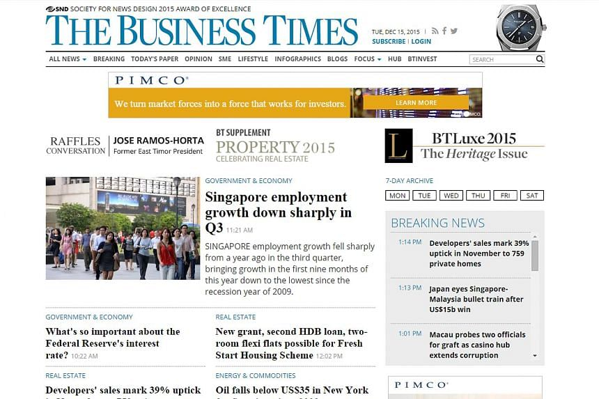 The Business Times' website topped the Business & Finance category.