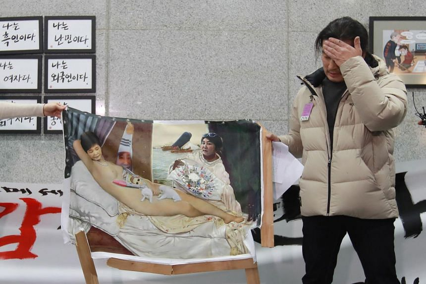 A nude painting of impeached South Korean president Park Geun Hye met a violent end at the country's parliament on Jan 24.