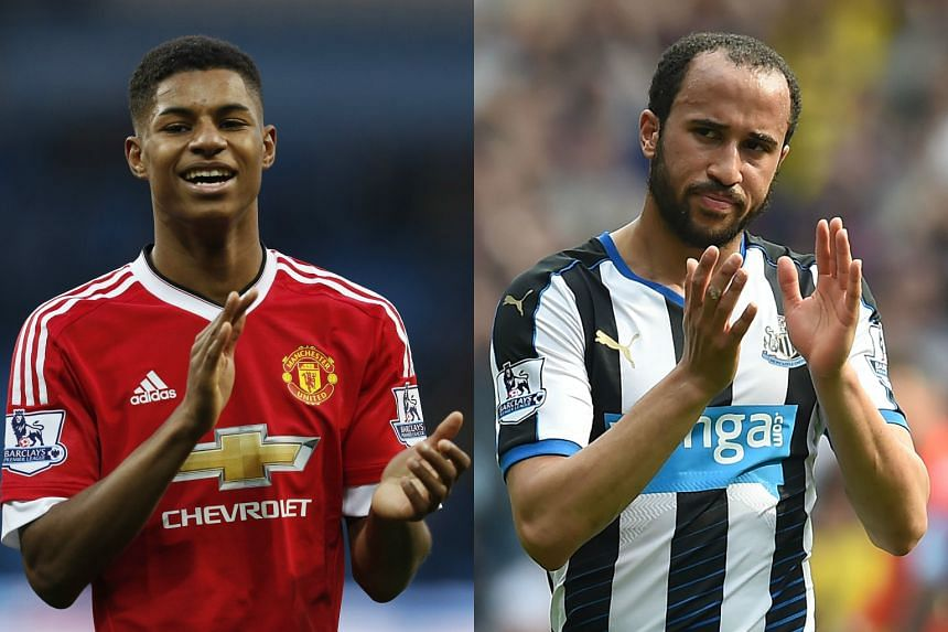 Manchester United's Marcus Rashford (left) and Newcastle United winger Andros Townsend were named in a provisional 26-man England squad for Euro 2016 on May 16, 2016.