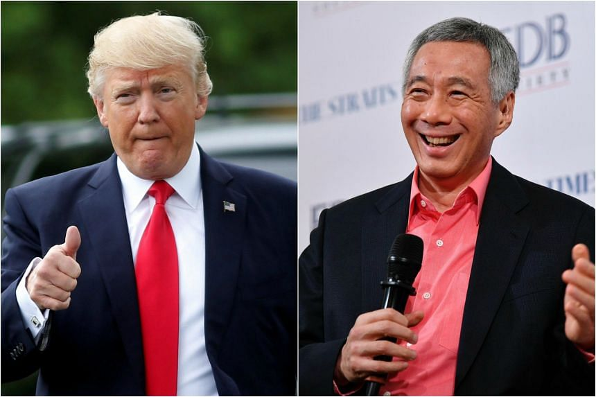 US President Donald Trump and PM Lee Hsien Loong spoke in a phone call on April 30, 2017.
