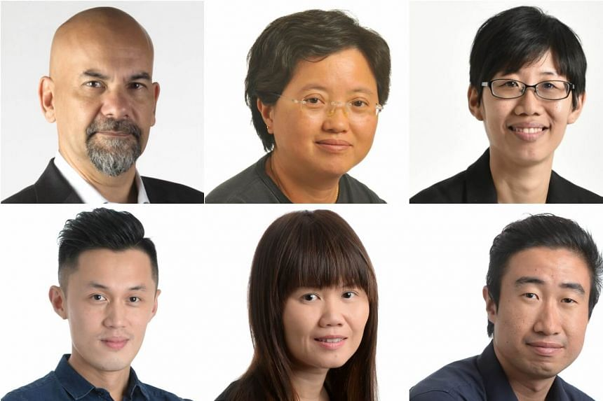 Clockwise from above left: Straits Times US bureau chief Nirmal Ghosh, China bureau chief Goh Sui Noi, China correspondent Chong Koh Ping, Japan correspondent Walter Sim, Hong Kong correspondent Joyce Lim and Taiwan correspondent Jermyn Chow.