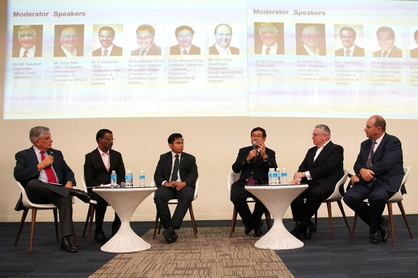 """Speakers at the """"Futures in Focus: The relevance of Chambers in the 21st Century"""" event, hosted by the Centre for International Trade and Business in Asia at the Singapore campus of James Cook University. From left: Mr Bill Tweddell, Mr K Barathan, M"""