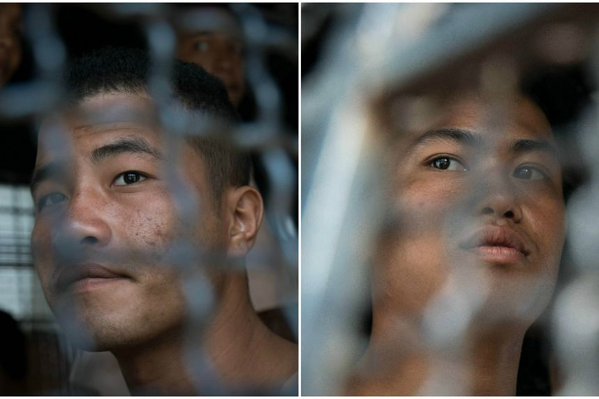 Zaw Lin (left) and Win Zaw Tun, who are the suspects in the murder of two British backpackers on the Thai island of Koh Tao.