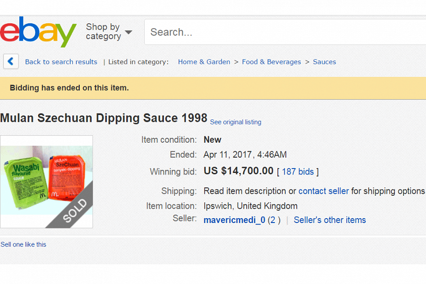 """A limited-edition McDonald's dipping sauce from 1998 has made headlines after being sold for US$14,700 (S$20,500) on online auction site eBay. Chinese media picked up the news with amusement, with some saying the """"SzeChuan"""" sauce was unlikely to be a"""