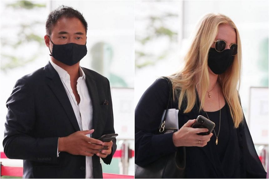 Mark Lau San Mao (left) and Amy Grace Ropner arriving at State Courts, on March 1, 2021.