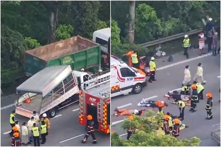 In a Facebook video, several men were seen lying on the road, surrounded by at least two ambulances and a fire engine.