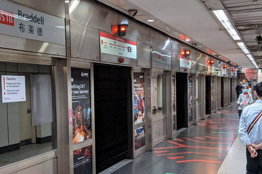 Platform screen doors on the southbound side of Braddell MRT station remained open for more than 90 minutes on March 3, 2021.