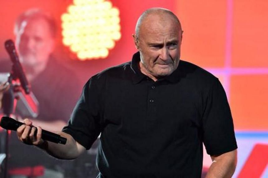 English pop singer Phil Collins, performing in New York in 2016. The 66-year-old has cancelled two performances after a bad fall.