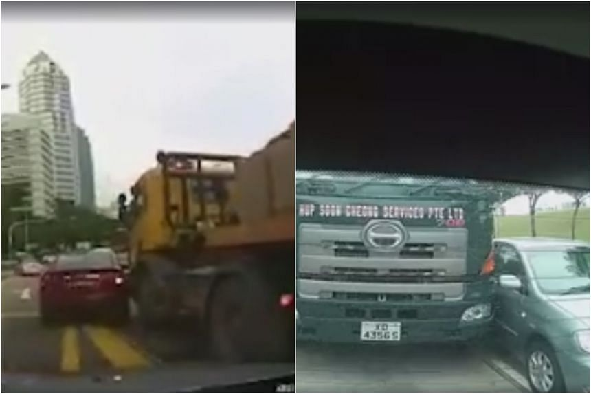 In the span of three days (Jan 10-12), two separate videos have emerged online of cars getting knocked by larger vehicles while trying to switch lanes and cut in front of them.