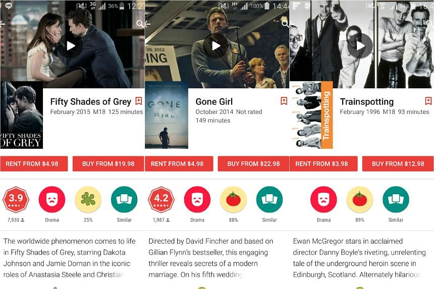 (From left) Controversial bondage film Fifty Shades of Grey, crime thriller Gone Girl and dark comedy drama Trainspotting are  no longer on sale on Google Play in Singapore.