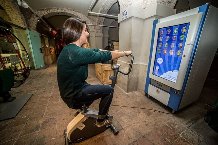 The human-powered vending machine invented by Mr Pep Torres. To get a food item, one must work off the calories first on the attached stationary bike.