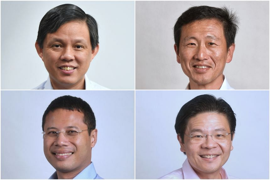 4G ministers (clockwise from top left) Chan Chun Sing, Ong Ye Kung, Lawrence Wong and Desmond Lee.
