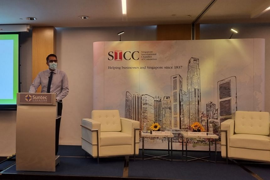Leader of the Opposition Pritam Singh speaking at the Singapore International Chamber of Commerce's Distinguished Speaker Series on July 8, 2021.