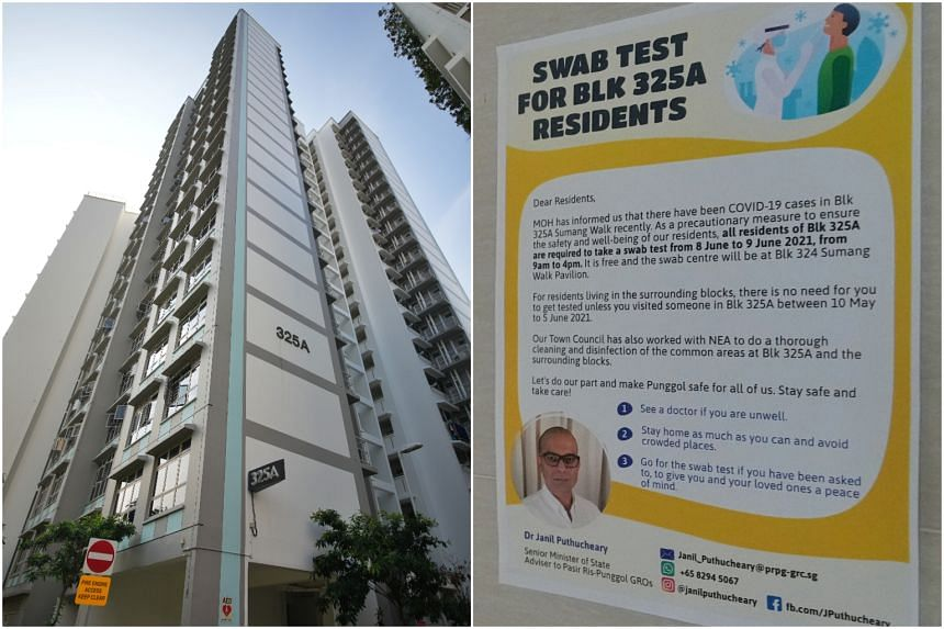 Visitors who were at Block 325A Sumang Walk between May 10 and June 5 are also encouraged to undergo testing.