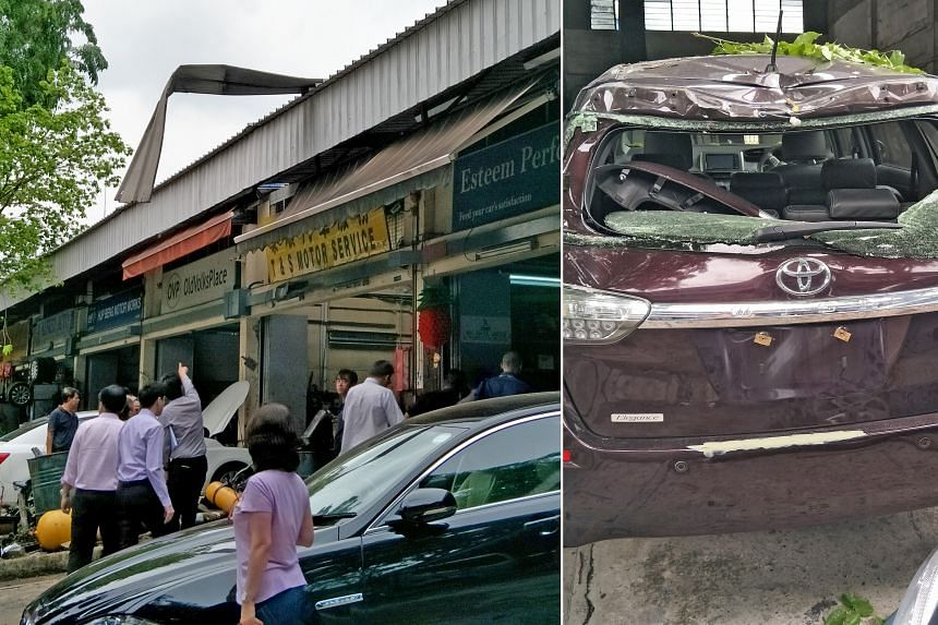 The damages are seen after a compressed natural gas (CNG) cylinder malfunctioned at a workshop in Ang Mo Kio.