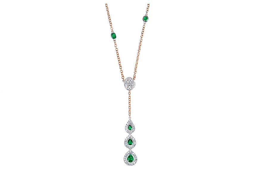 Italy: Emerald and diamond necklace, price unavailable, by Leonori Gioielli.