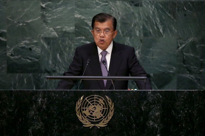 Indonesian Vice-President Jusuf Kalla at the United Nations Sustainable Development Summit during the UN General Assembly in New York on Sept 26, 2015.