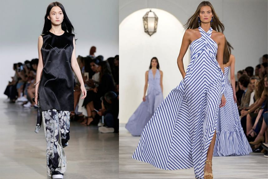 Calvin Klein's outfit (left) explores modern sensuality. Ralph Lauren's Riviera-inspired collection (left) has a timeless elegance. Models of the moment Bella Hadid (far right) and Kendall Jenner (right) at the Marc Jacobs show.