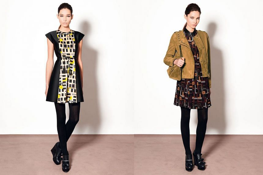 Longchamp's fall/winter 2015 ready-to-wear collection (left and right) showcases squares and lines in contrasting colours.