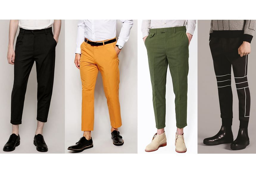 From left to right: Cropped Chino Trousers, Slim Fit Cropped Smart Trousers, Cropped Cuff Chinos, Cropped Jersey Sweatpants with Contrast Tape.