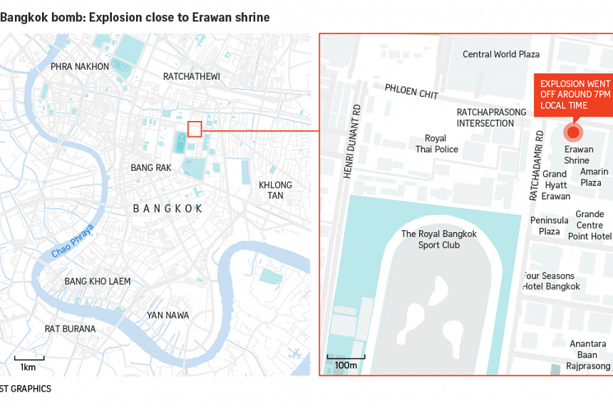 Location of explosions near the Erawan Shrine in downtown Bangkok.