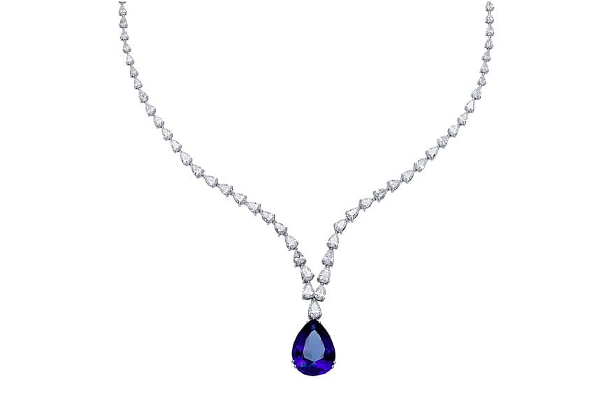 Italy: Necklace with natural tanzanite and diamonds set in 18K white gold, price unavailable, by Massimo Raiteri.