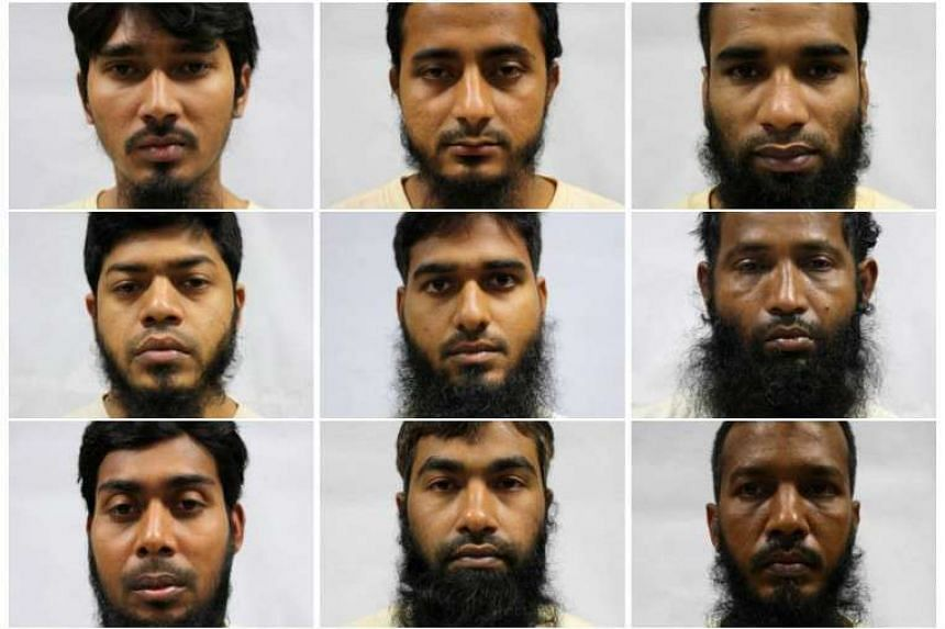 (First row from left) Hossain Mohammad Faruk, 30; Hossain Mohammad Sajib, 25; Hossen Md Akram, 32. (Second row) Islam Saiful, 36; Jasim Md, 33; Jewel Shaikh Khorshad Ali, 39. (Third row) Mamun Al, 27; Md Rowshan Alam Md Rezaul Karim, 29; Md Sanuar Ho