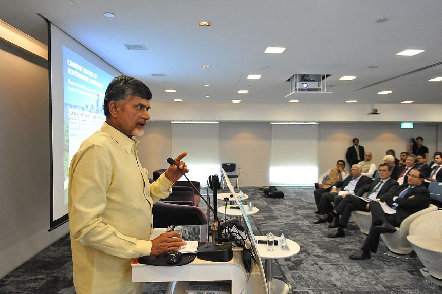 Mr Chandrababu Naidu (above), chief minister of India's south-eastern state of Andhra Pradesh, will meet Second Minister for Trade and Industry and Home Affairs and Minister in the Prime Minister's Office S. Iswaran.