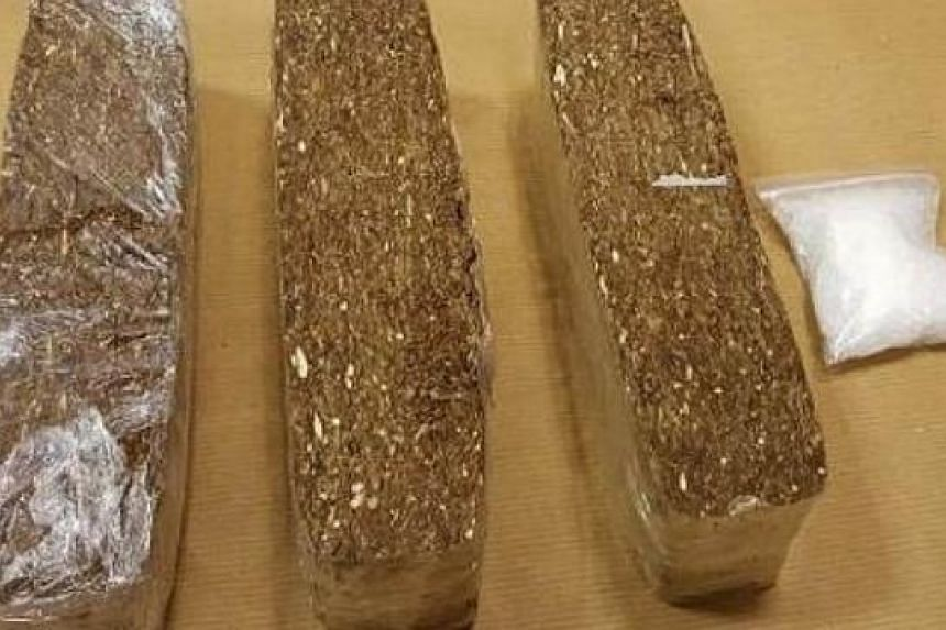 """The cannabis and """"Ice"""" seized by the Central Narcotics Bureau at Tuas Checkpoint on June 22, 2015."""