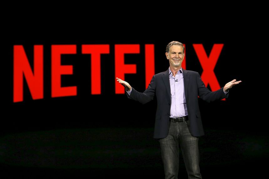 Netflix CEO Reed Hastings speaking at the 2016 CES trade show in Las Vegas on Jan 6.