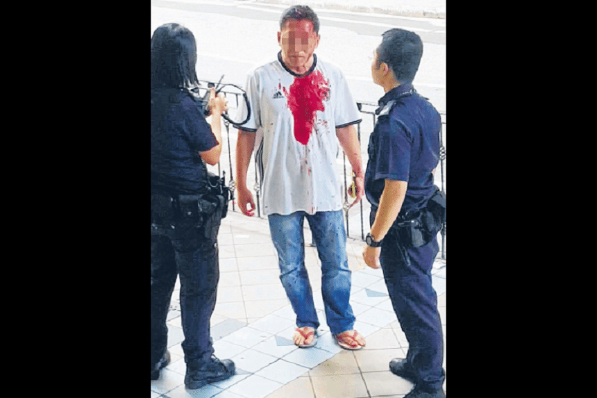 The man was beaten up outside Orchard Towers on Sunday evening, with what is believed to be a spanner.