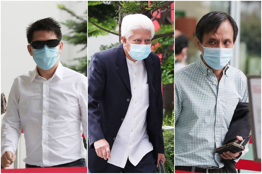 (From left) James Yeo Siew Liang, Abdul Aziz Mohamed Hanib and Benjamin Chow Tuck Keong had been convicted in April.