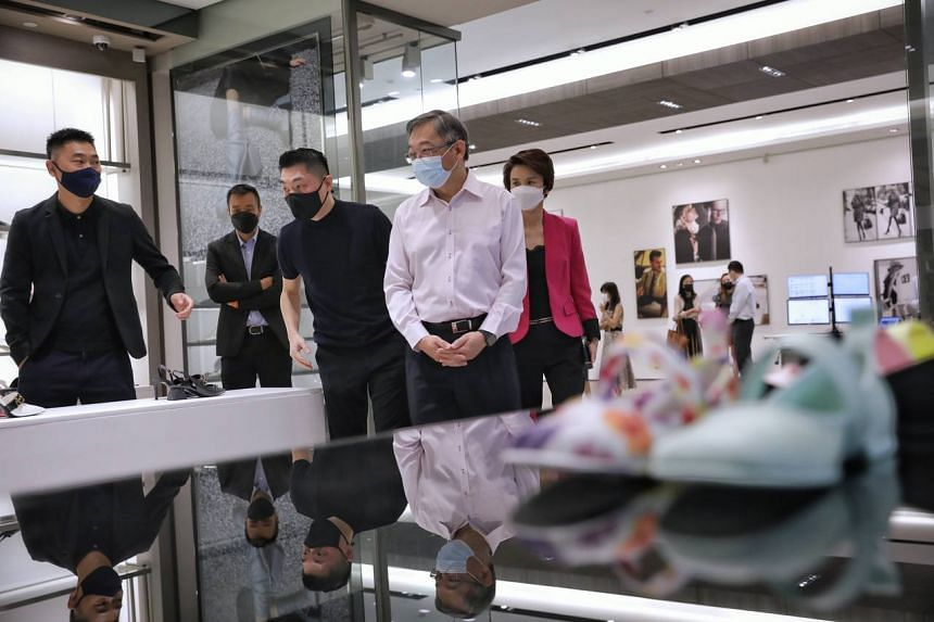 Minister for Trade and Industry Gan Kim Yong and Minister of State for Trade and Industry Low Yen Ling during a visit to Charles & Keith's headquarters in Tai Seng on Aug 24, 2021.