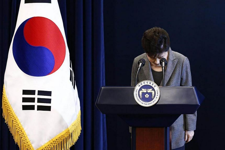 South Korea's President Park Geun Hye during an address to the nation at the presidential Blue House in Seoul on Nov 29, 2016.