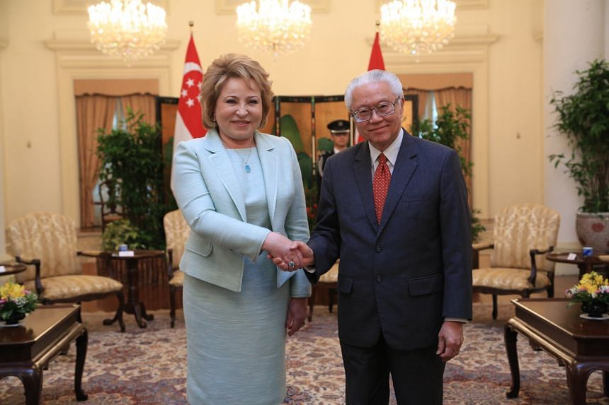President Tony Tan Keng Yam received a courtesy call from Mrs Valentina Matvienko, the Chairperson of the Federation Council of Russia, at the Istana on March 16, 2016.