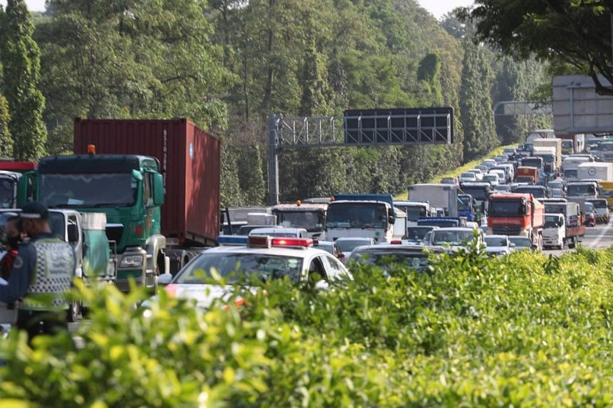 The accident caused a major jam during the morning peak hour.
