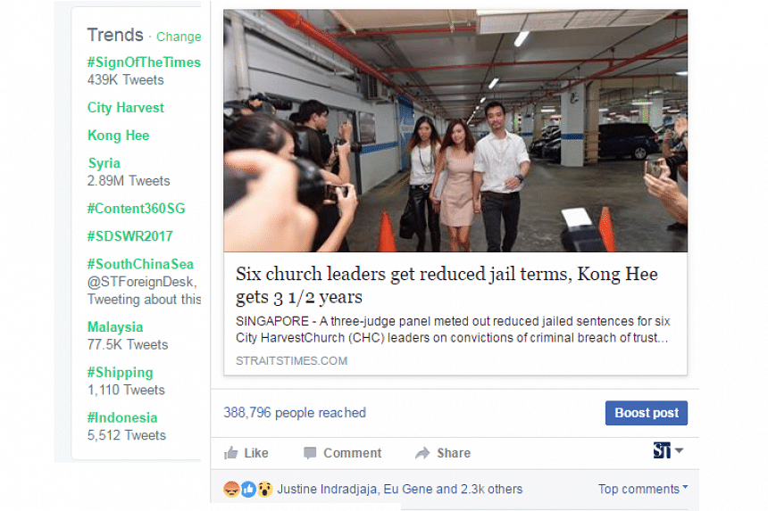 Within four hours of the verdict's announcement, City Harvest became the second-ranked trending topic on Twitter in Singapore after Syria, and Kong Hee the fourth-ranked.