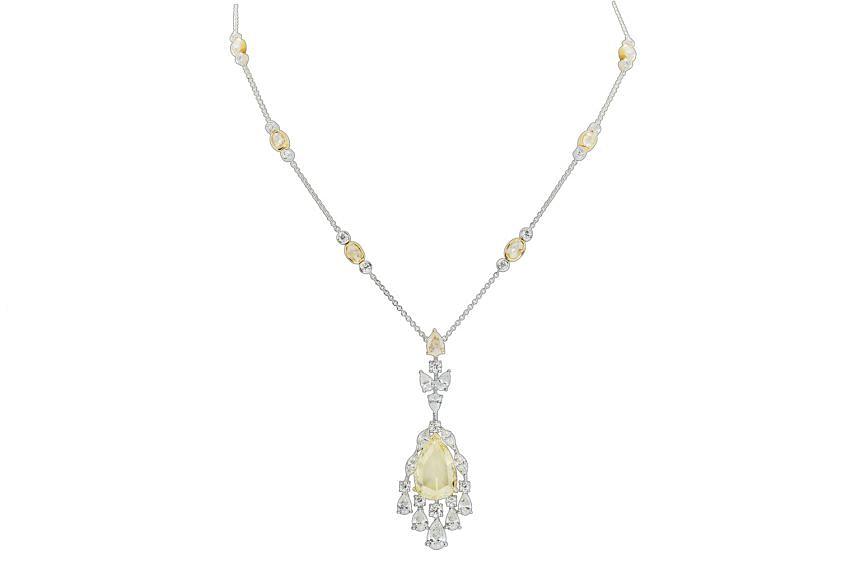 Middle East: Diamond necklace worth 12.21 carats in 18K gold, price unavailable, by Renee Jewellers.