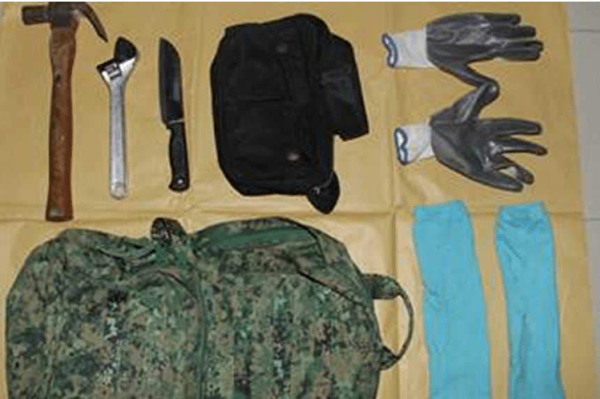 Police also seized items including a knife, hammer, spanner, gloves and socks for investigations.