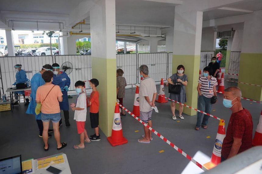 Residents queueing for mandatory Covid-19 testing at 53 Lengkok Bahru on June 28, 2021.