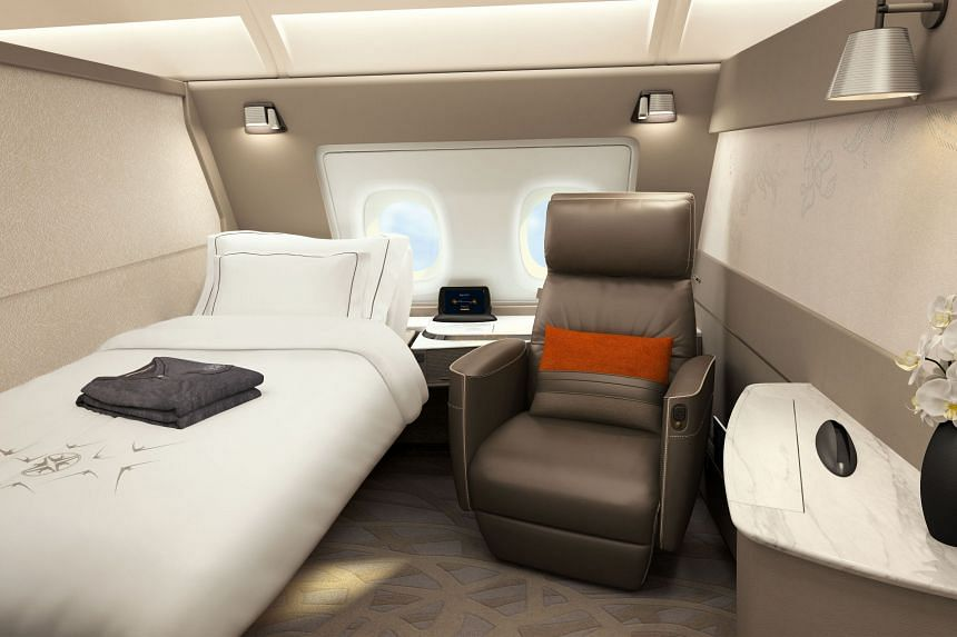 The interior of a suite on an Singapore Airlines A-380 plane.