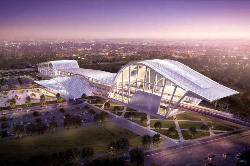 An artist's impression of the High Speed Rail station in Batu Pahat for the terminated project.